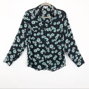 Express Tops - Express Portofino Blouse Floral Design Slim Fit